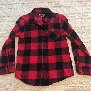 Girls button down plaid flannel top